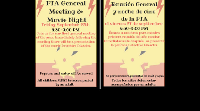 PTA movie night Friday, September 26th
